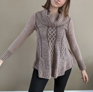 Ruby Moon Pink Cowl Neck Knit Sweater